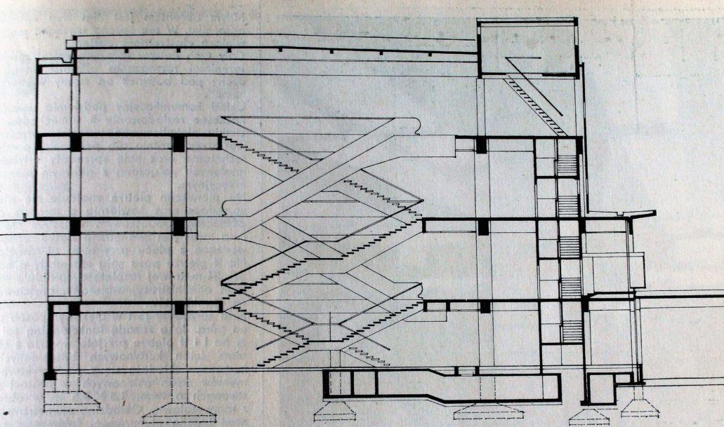 """Przekroje SDH """"Sezam"""". Ilustracja wg """"Architektura"""" 1970, nr 9"""