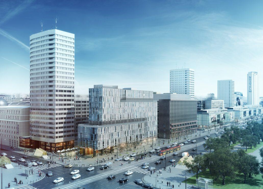Wizualizacja Centrum Marszałkowska. Widok całości. Materiały Inwestora