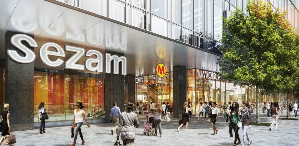 Wizualizacja Centrum Marszałkowska. Neon z napisem Sezam ma powrócić do nowego budynku. Materiały inwestora