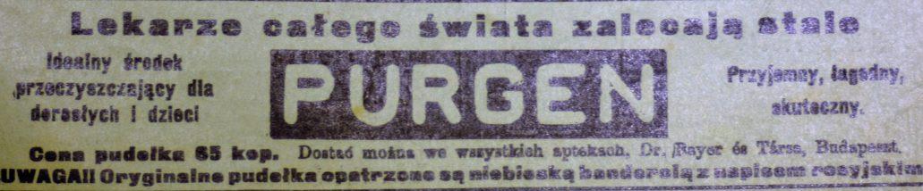 Takie środki przeczyszczające w 1910 r. można było kupić we wszystkich warszawskich aptekach. Też w aptece F. Więckowskiego
