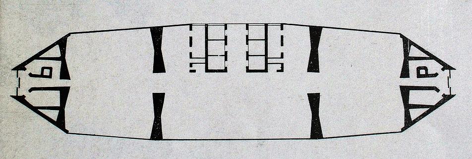 Rzut niskiej kondygnacji budynku z widocznymi masywnymi filarami. Il. wg Mate Major, Pier Luigi Nervi, Budapest 1966
