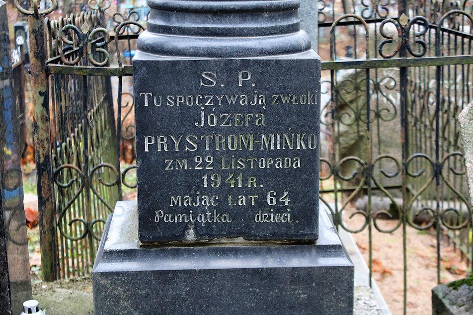 Mińsk Białoruski. Cmentarz na Kalwarii. Pomnik na grobie Józefa Prystrom Mińko. Fot. Jerzy S. Majewski