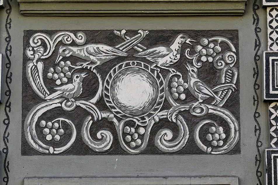 Gdańsk. Długa 11. Fragment dekoracji malarskiej Józefy Wnukowej