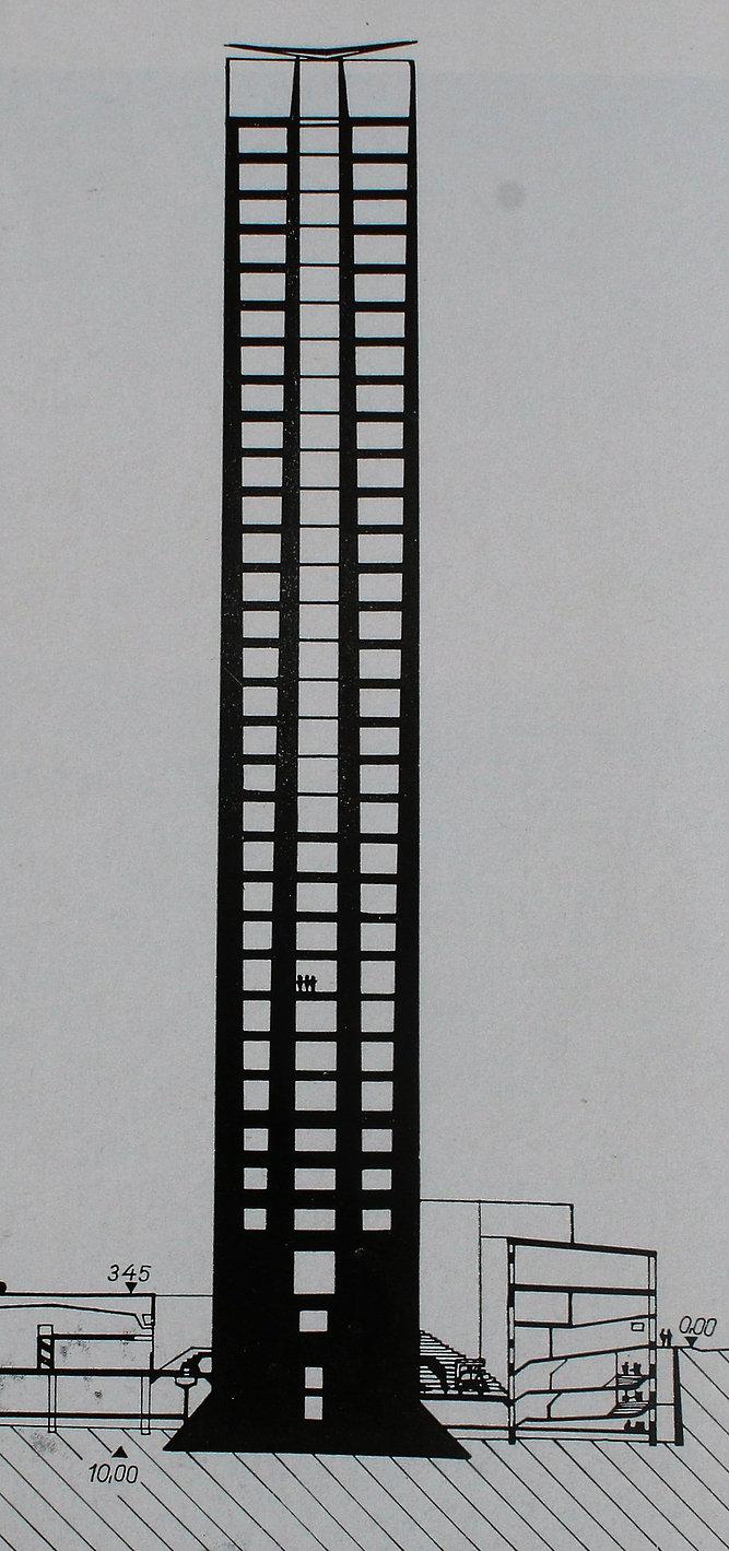 Na przekroju wieżowca Pirelli dobrze widać, jak chudną słupy konstrukcyjne wraz z kolejnymi kondygnacjami. Il. wg Mate Major, Pier Luigi Nervi, Budapest 1966