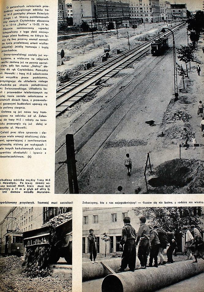 Strona z tygodnika Stolica z 1962 r. z fotoreportażem z budowy nowej jezdni al. Świerczewskiego (dziś Solidarności). W miejscu widocznym na górnym zdjęciu profesor przeprowadza rekonesans