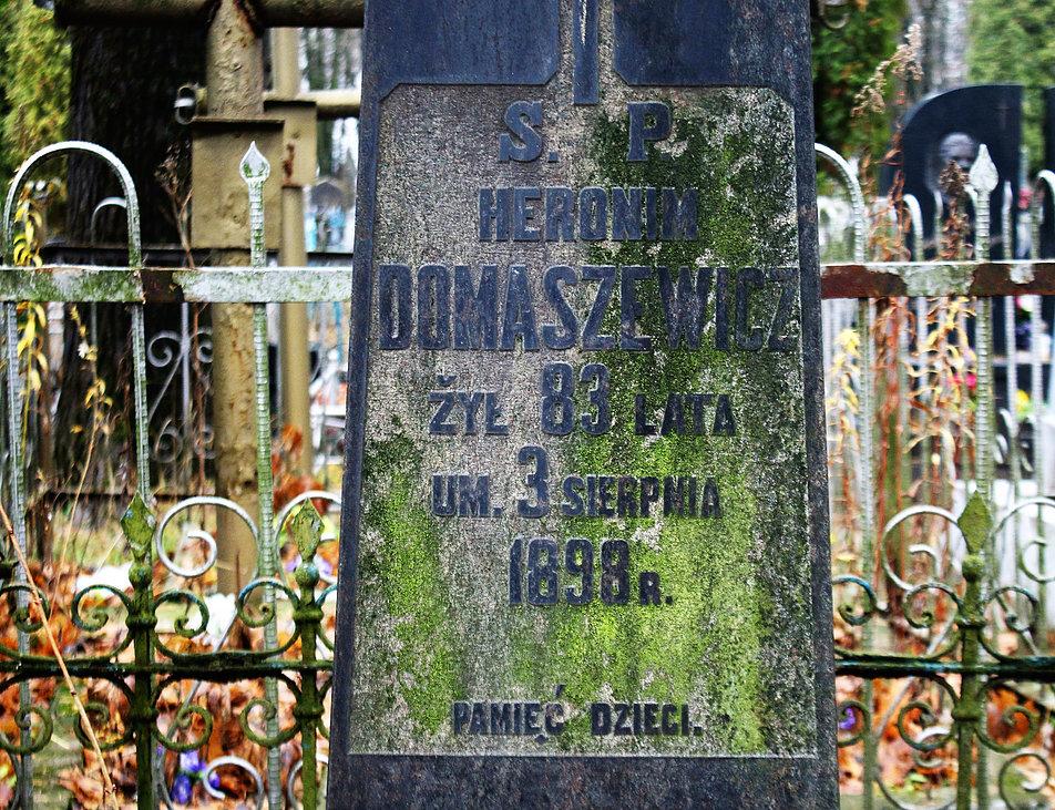 Mińsk Białoruski. Cmentarz na Kalwarii. Pomnik nagrobny Hieronima Domaszewicza. Fot. Jerzy S. Majewski