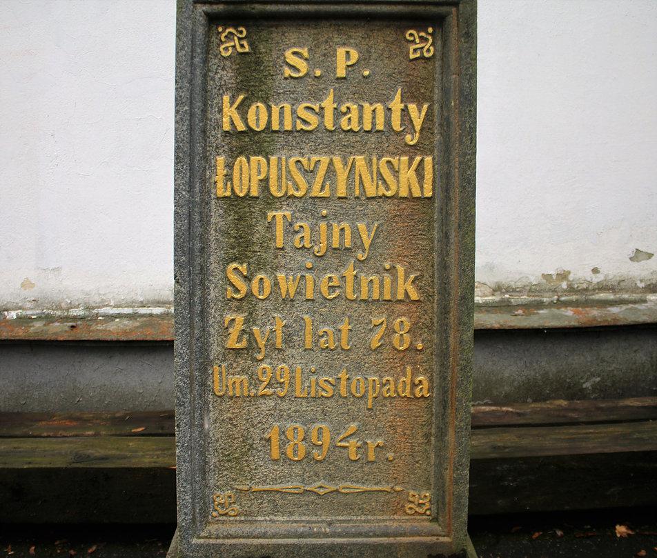 Mińsk Białoruski. Cmentarz na Kalwarii. Grób Konstantego Łopuszyńskiego. Fot. Jerzy S. Majewski