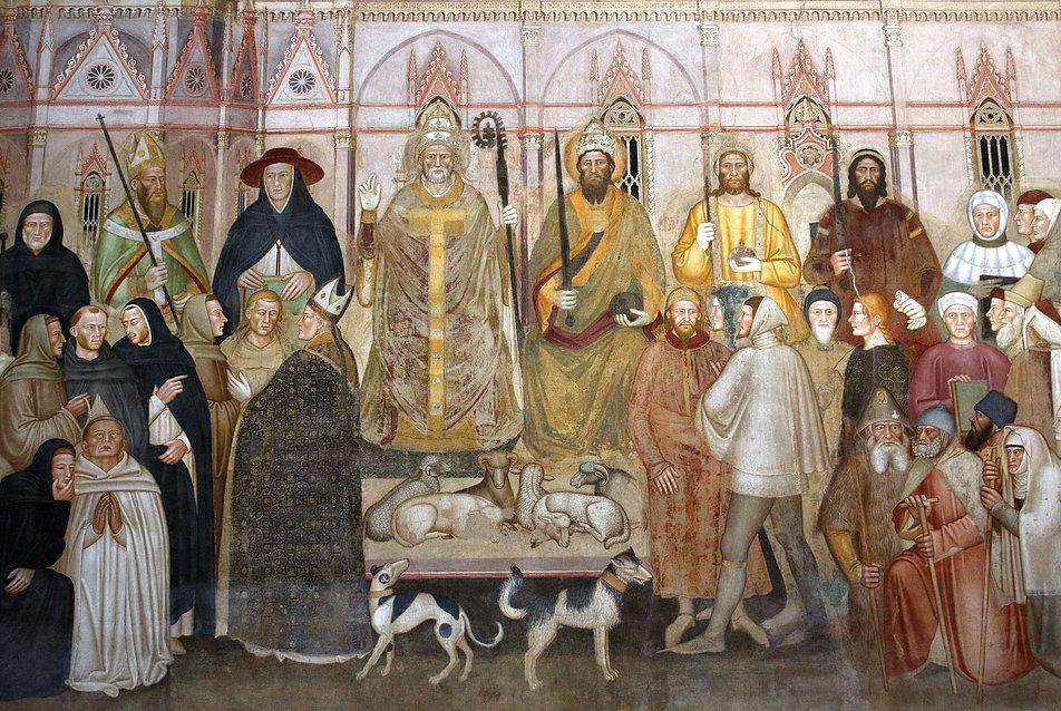 Florencja. Kościół St. Maria Novella. Widoczne na zdjęciu freski w kaplicy Hiszpańskiej przetrwały. Jednak powódź zniszczyła fresk Potop w sąsiednim Zielonym Krużganku. Fot. Jerzy S. Majewski