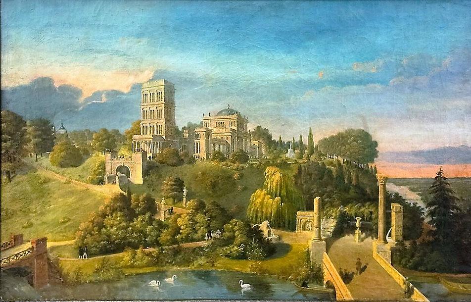 Pałac w Homlu po przebudowie dokonanej przez Adama Idźkowskiego. Widok od strony wąwozu. Obraz Idźkowskiego z 1840 r. Ilustracja udostępniona przez Tatianę Litwinową