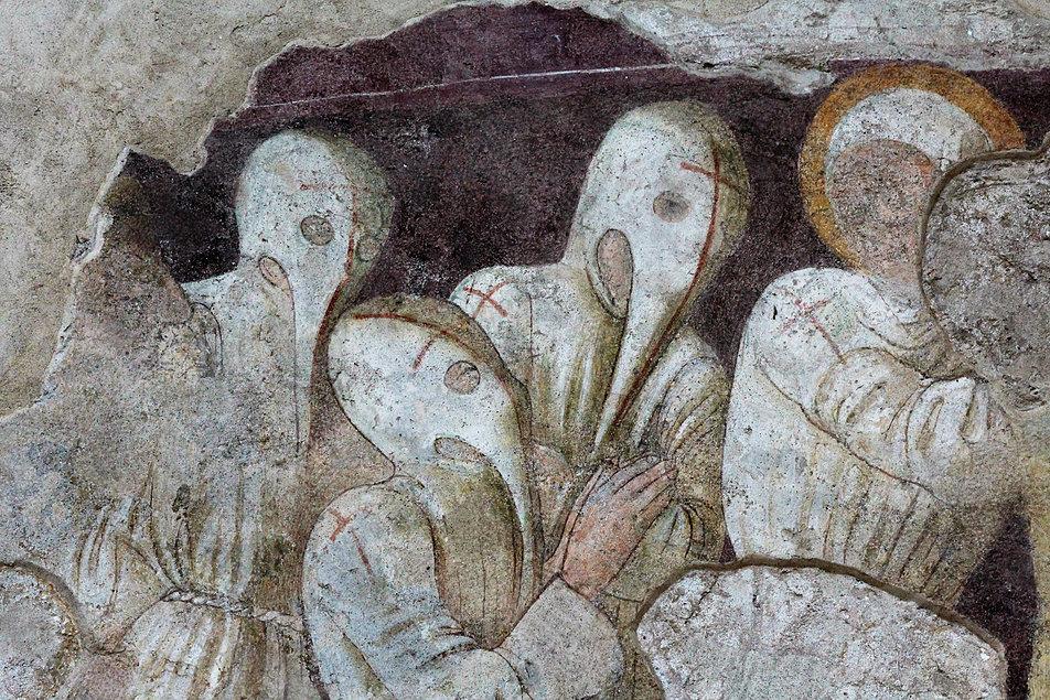 Biczownicy na niewielkim zachowanym fragmencie trzeciego z przedstawień na elewacji Oratorio dei Disciplini w Clusone. Fot. Jerzy S. Majewski