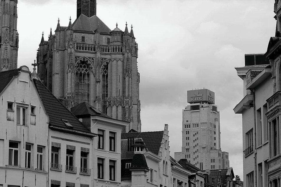 Antwerpia. Torengebouwen w kontekście zabytkowego centrum. Z lewej niższa wieża katedry. Fot. Jerzy S. Majewski