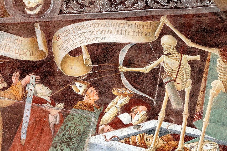 Triumfująca śmierć. Szkielet strzelający do ludzi z łuku. Fot. Jerzy S. Majewski