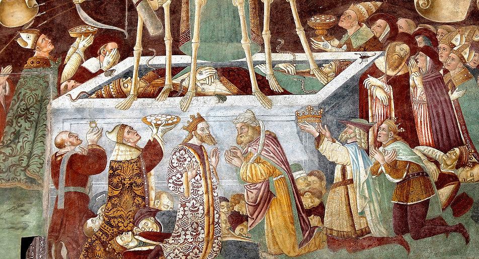 Oratorio dei Disciplini. Fragment Triumfu Śmierci. Sarkofag z papieżem Sykstusem IV (po lewej). Fot. Jerzy S. Majewski