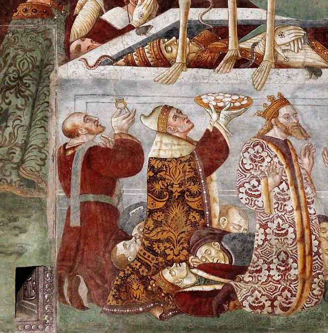 Triumf Śmierci. U dołu po lewej klęczy książę Ferrary Ercole d'Este. Obok z prawej doża wenecki Giovanni Mocenigo. W sarkofagu spoczywa Sykstus IV. Fot. Jerzy S. Majewski