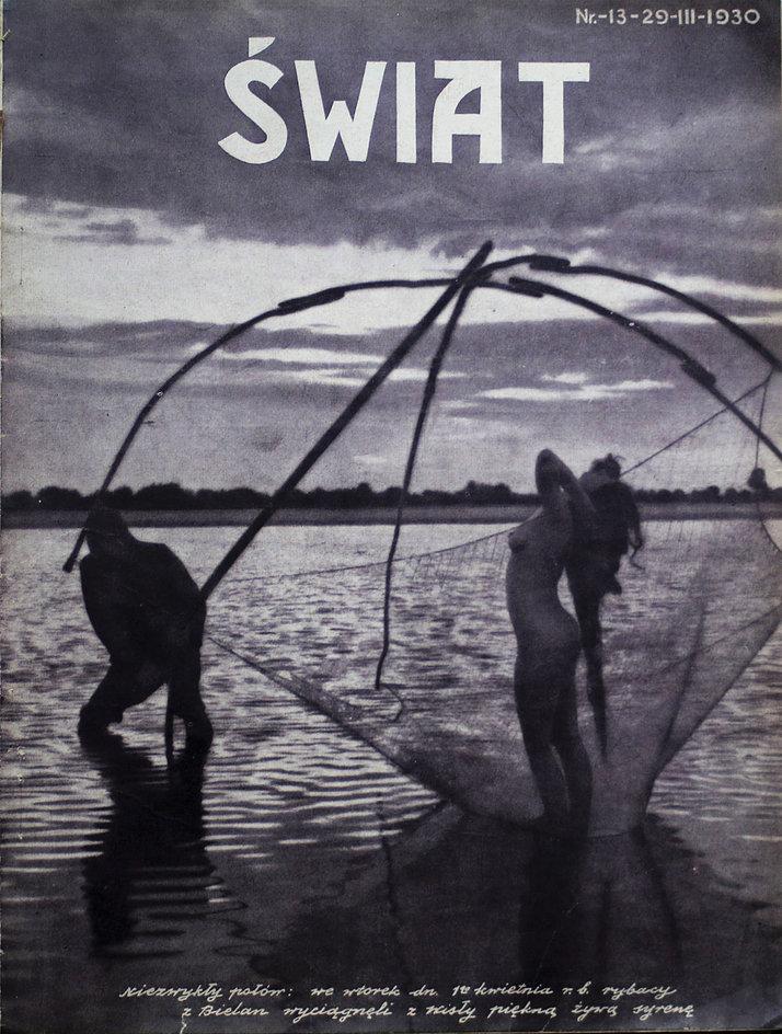"""Okładka tygodnika """"Świat"""" z 1930 r. Zabawna kompozycja znalazła się w prima aprilisowym numerze czasopisma"""